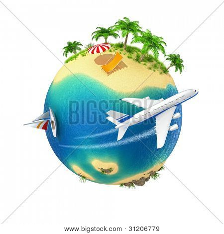 Little planet with a tropical island isolated on white background. Computer generated image.