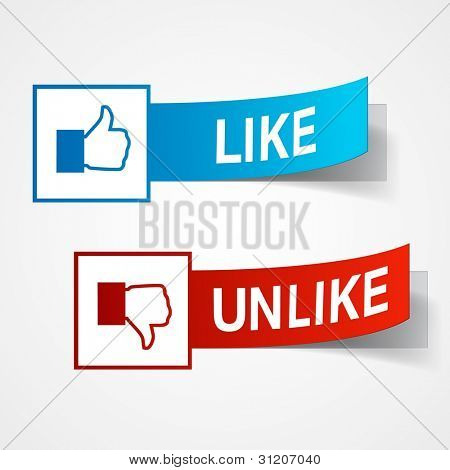 Like and unlike symbols. Thumb up and thumb down signs. Raster copy of vector illustration