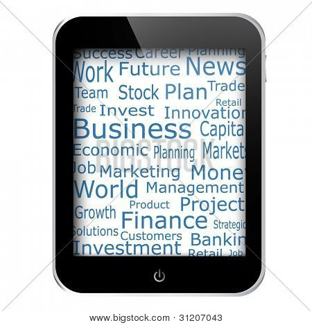 Business and financial words on tablet pc screen. Raster copy of vector illustration