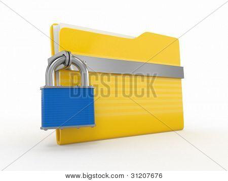 Archivos confidenciales. Candado en carpeta sobre fondo blanco. 3D