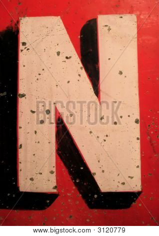 Letter N On Antique Tin Sign
