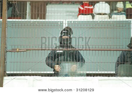 Special unit policeman at a soccer game