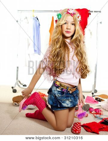 fashion victim kid girl wardrobe messy like backstage model