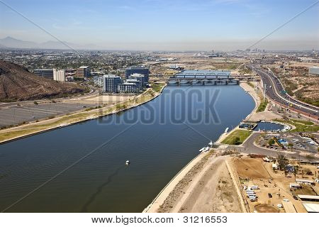 Tempe Town Lake And Phoenix Backdrop