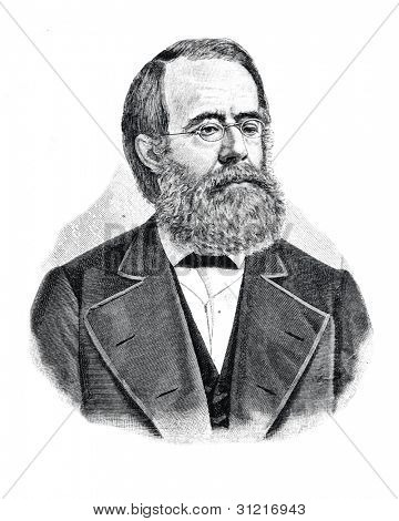Academician O. Betling. Engraving by  Shyubler. Published in magazine