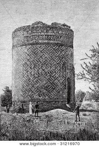 Ruins of Afghan Church (Elizabeth Province, Shusha district, Partov) Engraving by  Rashevsky. Published in magazine
