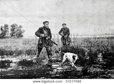 The hunt for snipe. Engraving by Rashevsky from picture by Kivshenko. Published in magazine