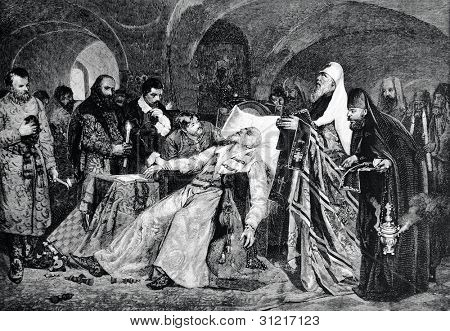 The death of the Russian Tsar Ivan the Terrible. Engraving by Baranowski  from picture by  Maiman. Published in magazine