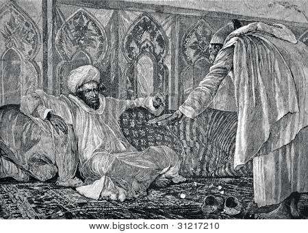 Moulay Hassan, the Sultan of Morocco. Engraving by Olszewski  from picture by  Vudvil. Published in magazine