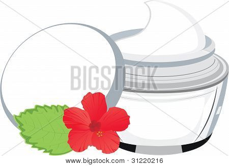 Vector Jar With Cream, Hibiscus And  Leaf