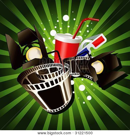 Illustration of  movie theme objects on green background.