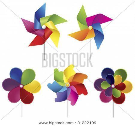 vector colorido molinos de viento