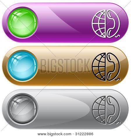 Globe and phone. Internet buttons. Raster illustration. Vector version is in my portfolio.
