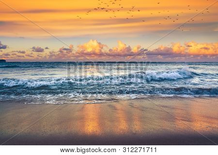 poster of Travel Vacation Tropical Destination. Tropical Beach Landscape. Travel Vacations Destination. Travel