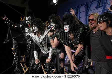 LOS ANGELES - MAR 20:  KISS, Vince Neil, Nikki Sixx  at the Kiss and Motely Crue Tour Press Conference at the Roosevelt Hotel on March 20, 2012 in Los Angeles, CA