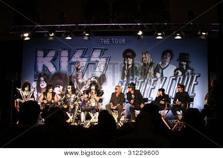 LOS ANGELES - MAR 20:  KISS; Motley Crue at the Kiss and Motely Crue Tour Press Conference at the Roosevelt Hotel on March 20, 2012 in Los Angeles, CA