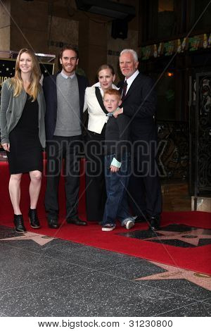 LOS ANGELES - MAR 16:  Malcolm McDowell, Family at the Malcolm McDowell Walk of Fame Star Ceremony for The Muppets at the Hollywood Boulevard on March 16, 2012 in Los Angeles, CA