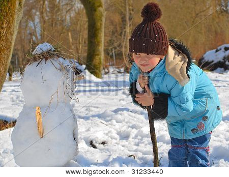 A Girl Looks At The Snowmen