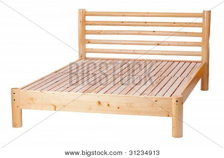 Double bed isolated over white, with clipping path