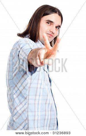 Confident Man Gesturing V Sign