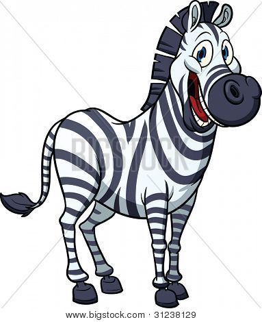 Cute cartoon zebra. Vector illustration with simple gradients. All in a single layer for easy editing.