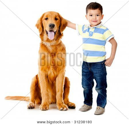 Boy wih a beautiful dog�?�?�?� - isolated over a white background