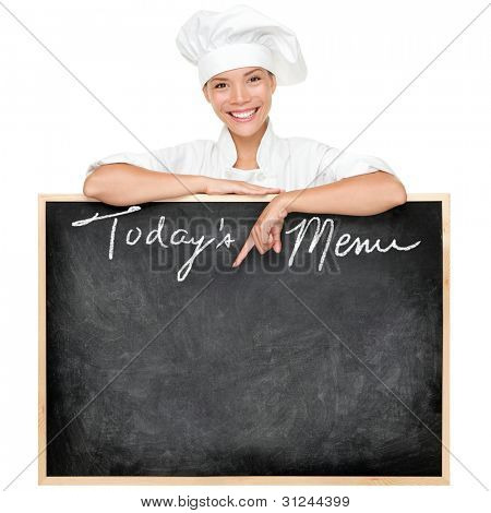 Menu sign. Restaurant chef showing menu blackboard sign written Today's Menu. Young woman cook or chef isolated on white background.