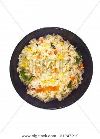 Fried Rice In Bowl Top View