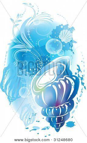 ? bstract ilustración con una concha