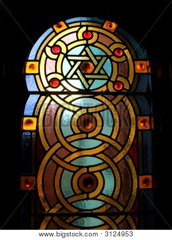 Stained Glass Window In Jewish Temple