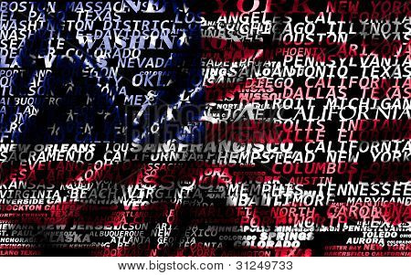 USA word cloud from cities names