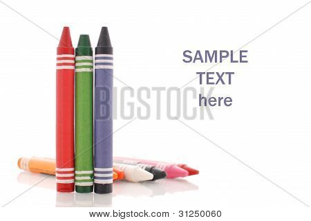 Red, Green And Blue Crayons