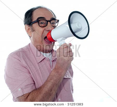 Senior Casual Male With Megaphone