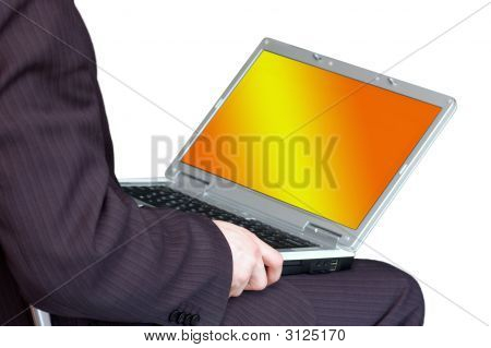 Man Working With Portable Computer As Universal Concept For Many Application