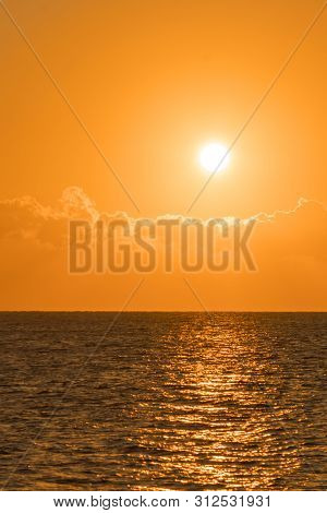 poster of Colorful Dawn Over The Sea, Sunset. Beautiful Magic Sunset Over The Sea. Beautiful Sunset Over The O