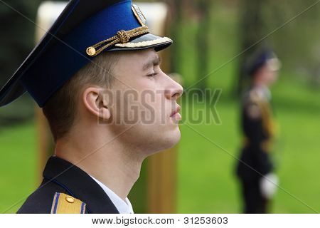 MOSCOW - MAY 8: Young unidentified soldier at ceremony of wreath laying at tomb of Unknown Soldier at Victory Day celebrations, on May 8, 2011, Moscow, Russia.