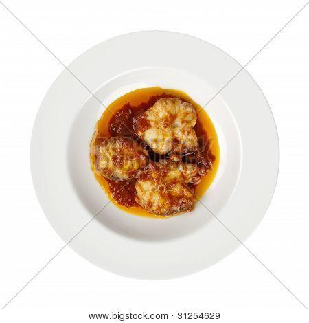Fish Tomato Olive Oil, Italian Traditional Recipe Isolated On White