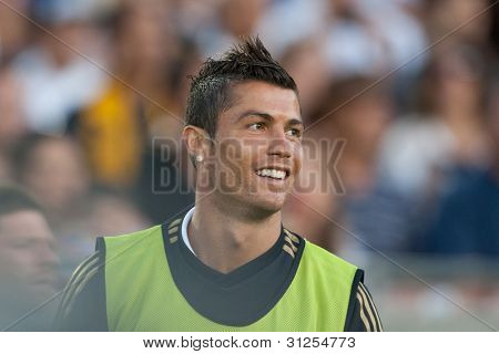 LOS ANGELES - JULY 16: Real Madrid C.F. F Cristiano Ronaldo #7 warms up during the World Football Challenge game on July 16 2011 at the Los Angeles Memorial Coliseum in Los Angeles, CA