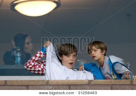 CARSON, CA. - MAY 14: Victoria Beckham, Brooklyn Beckham, and Romeo Beckham (L-R) during a Los Angeles Galaxy MLS game on May 14 2011 at the Home Depot Center in Carson, CA.
