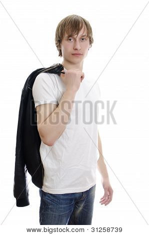 Casual Young Man In White T-shirt And Leather Jacket In Hands. Isolated On White.