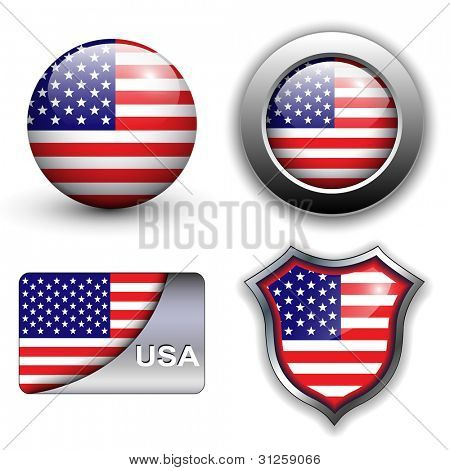 USA, american flag icons theme.