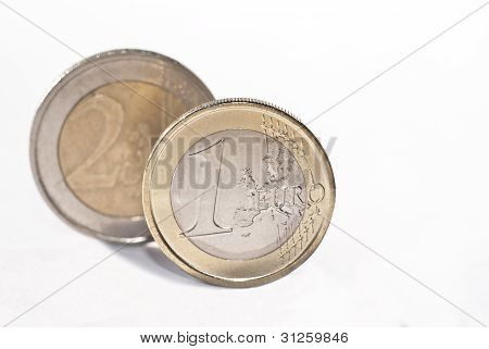 euro coins over white