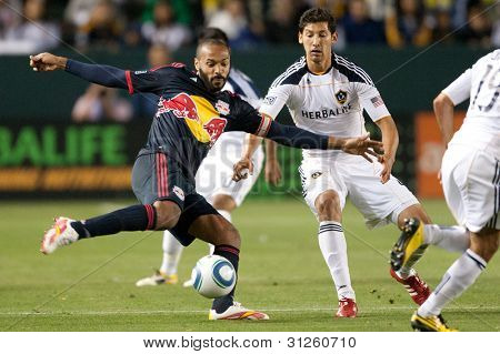 CARSON, CA. - MAY 7: New York Red Bulls F Thierry Henry #14 (L) in action during the MLS game between the New York Red Bulls & the Los Angeles Galaxy on May 7 2011 at the Home Depot Center in Carson, CA.