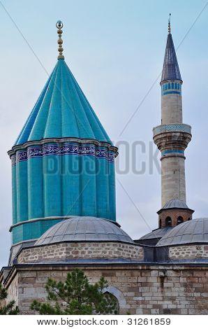 Konya Turkey October 29: Tower/Minaret in Rumi Mausoleum on October 29, 2010 in Konya Turkey