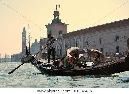 Venice September 13: Gondola on Grand Canal Near Landmarks in Venice on September 13, 2011