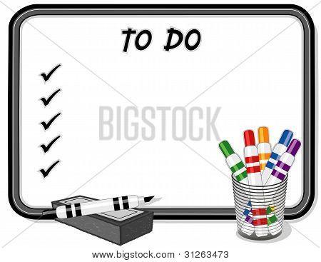 To Do List Whiteboard, Marker Pens, Eraser