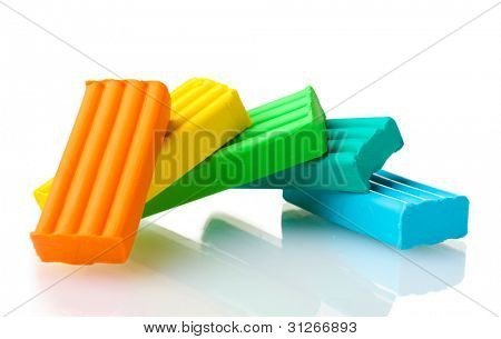 Children bright\ plasticine isolated on white