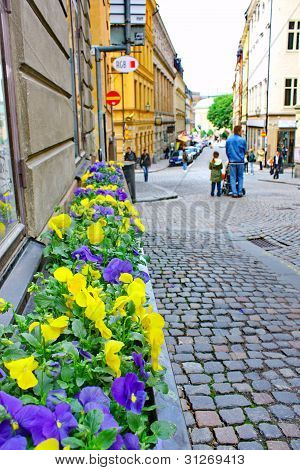 Along The Streets Of The Old Town (gamla Stan) In Stockholm.