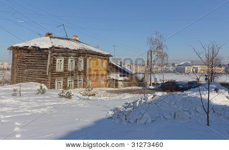 Old Wooden Houses In Kazan, Tatarstan, Russia