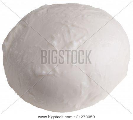 one fresh mozzarella isolated with white background